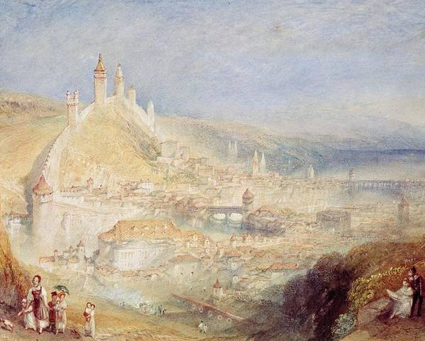 Lucerne From The Walls Poster featuring the painting Lucerne From The Walls by Joseph Mallord William Turner