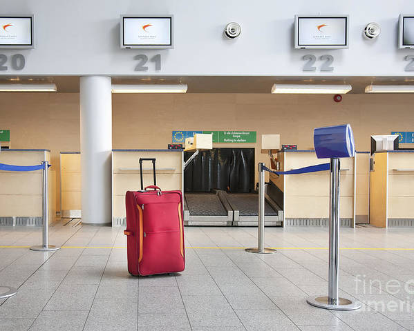Abandoned Poster featuring the photograph Luggage At An Airline Check-in Counter by Jaak Nilson