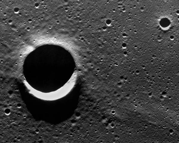 Sarabhai Poster featuring the photograph Lunar Crater, Apollo 17 Photograph by Detlev Van Ravenswaay