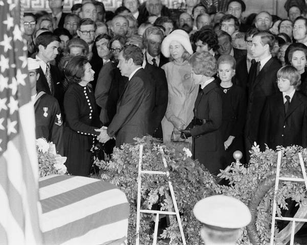 History Poster featuring the photograph Lyndon Johnson Funeral. President Nixon by Everett