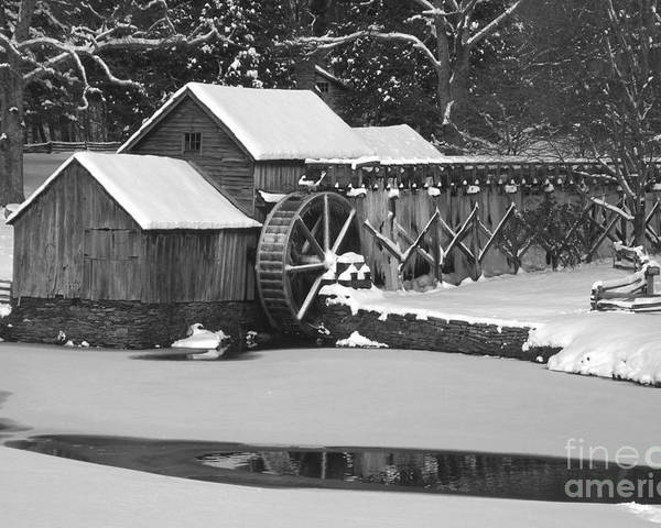 Mabry Mill Poster featuring the photograph Mabry Mill In Black And White by Joe Elliott
