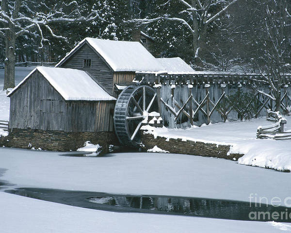 Mabry Mill Poster featuring the photograph Mabry Mill Winter by Joe Elliott