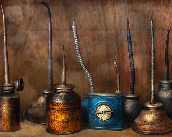 Machinst Poster featuring the photograph Machinist - Tools - Lubrication Dispensers by Mike Savad