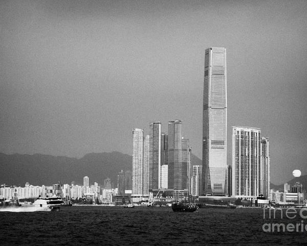 Victoria Poster featuring the photograph Madeira Hydrofoil Macau Ferry Speeds Towards Kowloon Skyline Hong Kong Hksar China Asia by Joe Fox