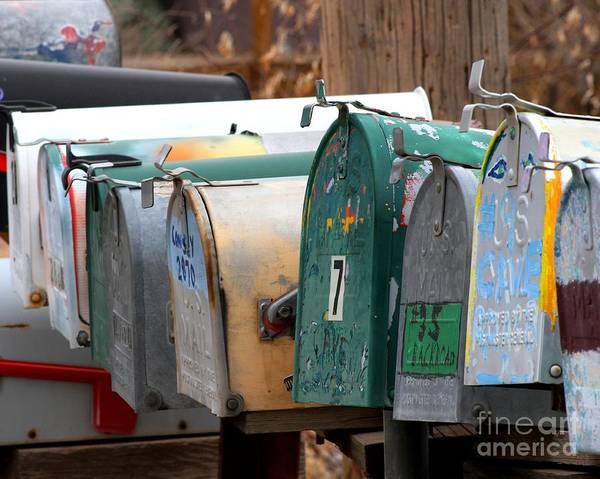 New Mexico Poster featuring the photograph Mailboxes by Ashley M Conger