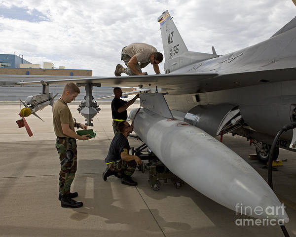 Airbase Poster featuring the photograph Maintenance Crew Works On Replacing by HIGH-G Productions