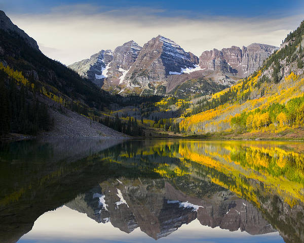 Maroon Bells Poster featuring the photograph Majestic Maroon Bells by Tim Reaves