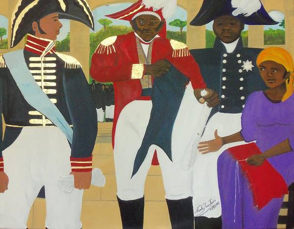 The Making Of The Haitian Flag By Nicole Jean-louis Poster featuring the painting Making Of The Haitian Flag by Nicole Jean-Louis