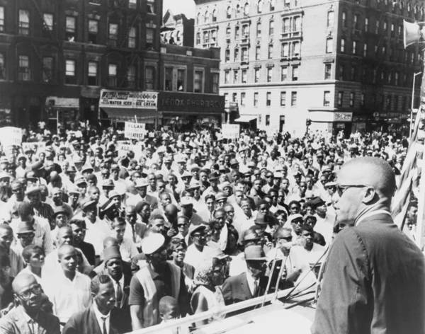 History Poster featuring the photograph Malcolm X, Speaking To An Outdoor Rally by Everett