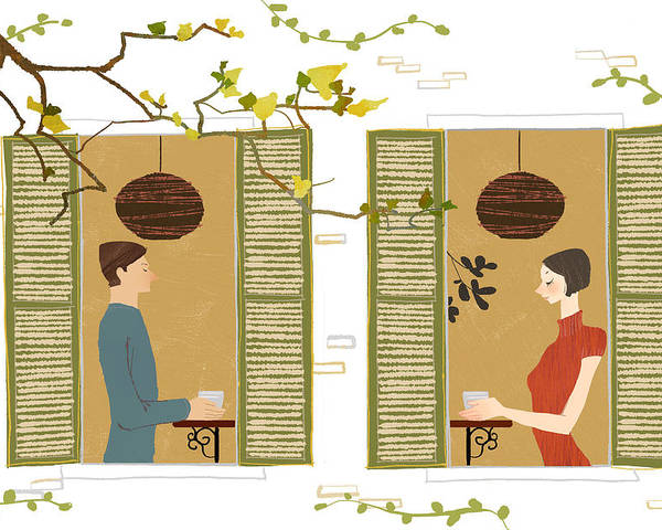 25-29 Years Poster featuring the digital art Man And Woman Drinking Coffee View From Window by Eastnine Inc.