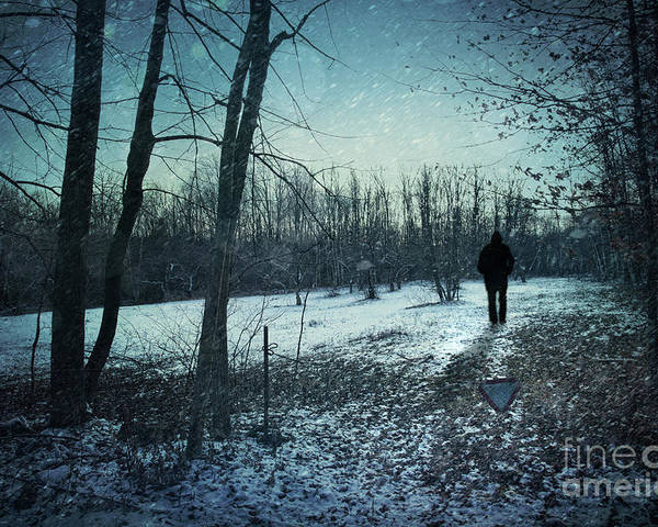 Abandoned Poster featuring the photograph Man Walking In Snow At Winter Twilight by Sandra Cunningham