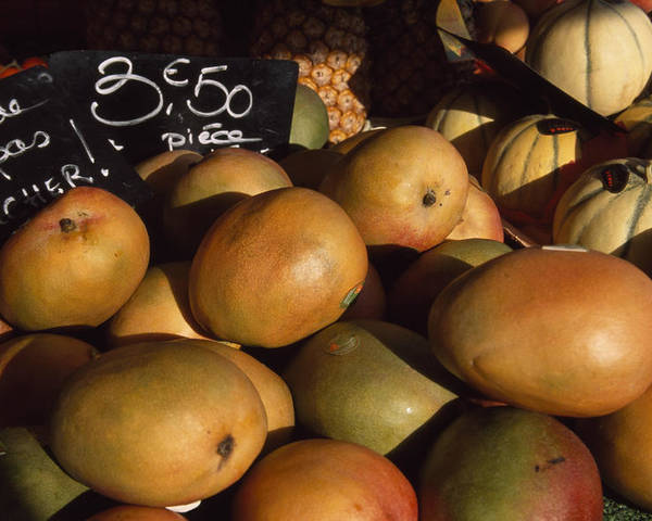 Outdoors Poster featuring the photograph Mangoes And Melons Priced In Euros by David Evans