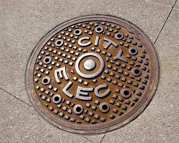 Access Poster featuring the photograph Manhole Cover In Chicago by Mark Williamson