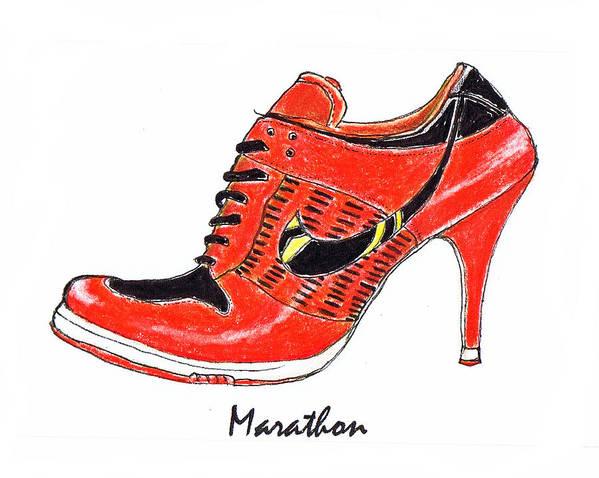 Marathon Poster featuring the drawing Marathon by Lynn Blake-John