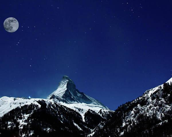 Horizontal Poster featuring the photograph Matterhorn Switzerland Blue Hour by Maria Swärd