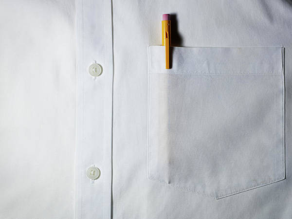 Horizontal Poster featuring the photograph Mechanical Pencil In White Shirt Pocket. by Ballyscanlon