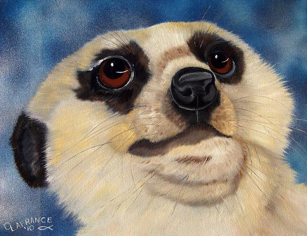 Meerkat Poster featuring the painting Meerkat Eyes by Debbie LaFrance