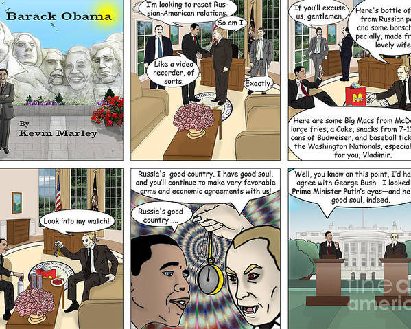 Barack Obama Poster featuring the digital art Meeting Puting by Kevin Marley