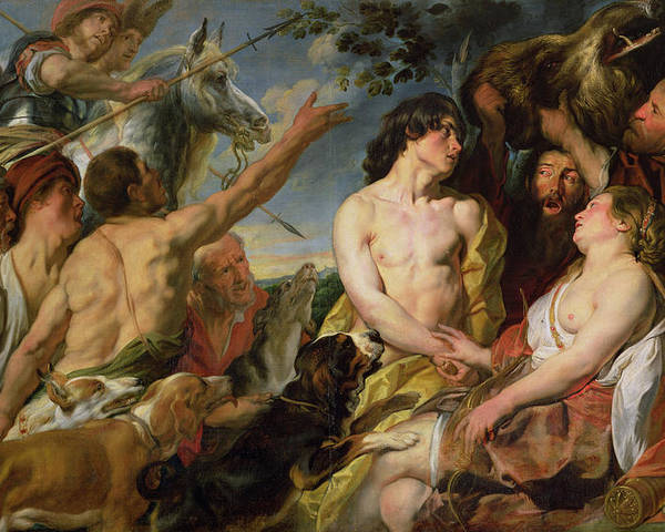 Virgin; Huntress; Lovers; Tragedy; Calydonian Wild Boar Hunt; Hunting Dogs; Meleagre; Atalante Poster featuring the painting Meleager And Atalanta by Jacob Jordaens