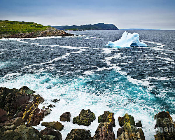 Iceberg Poster featuring the photograph Melting Iceberg In Newfoundland by Elena Elisseeva