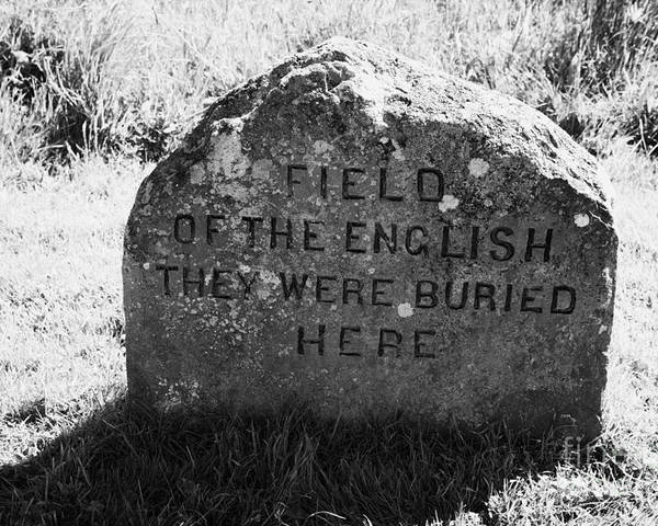 Memorial Poster featuring the photograph memorial stone for the dead english on Culloden moor battlefield site highlands scotland by Joe Fox