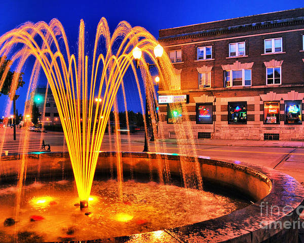 Menasha Poster featuring the photograph Menasha Lighted Fountain by Ever-Curious Photography