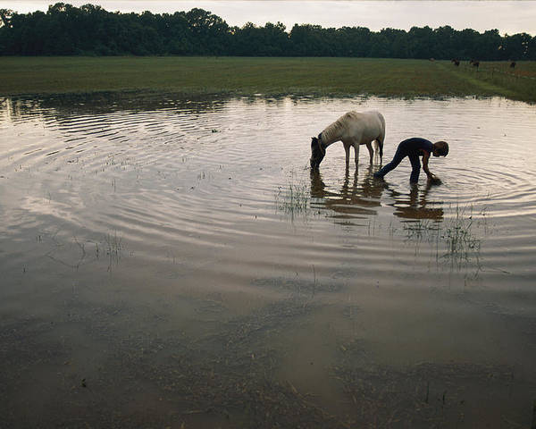 Water Holes Poster featuring the photograph Mennonite Farm Child With Horse by Randy Olson