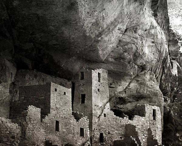 Mesa Verde Poster featuring the photograph Mesa Verde - Monochrome by Ellen Heaverlo