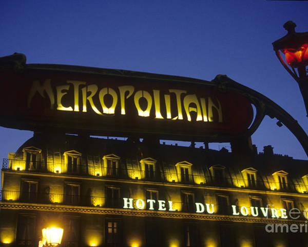 Europe Poster featuring the photograph Metro Sign. Paris. France by Bernard Jaubert