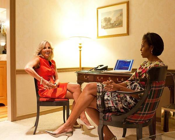 History Poster featuring the photograph Michelle Obama And Dr. Jill Biden Wait by Everett