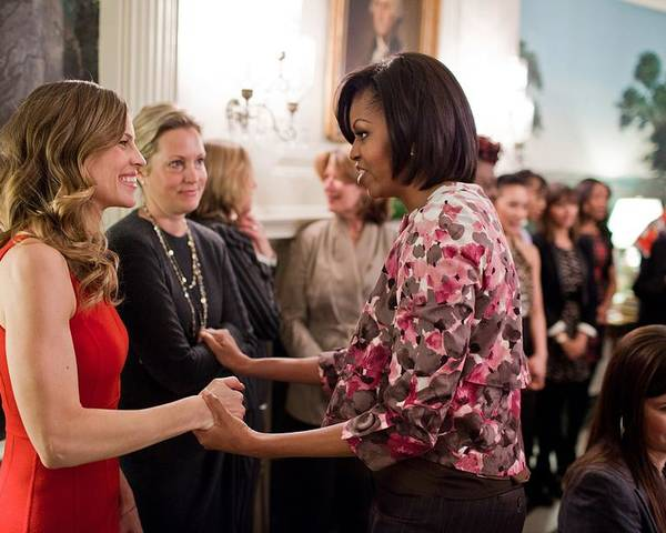 History Poster featuring the photograph Michelle Obama Greets Actress Hilary by Everett