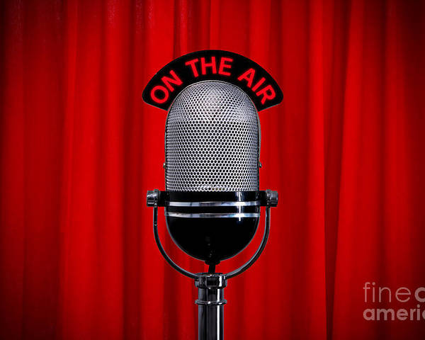 Microphone Poster featuring the photograph Microphone On Stage With Spotlight On Red Curtain by Richard Thomas