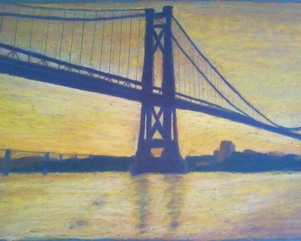 Sunrise Poster featuring the painting Mid-hudson Bridge Sunrise by Samuel McMullen