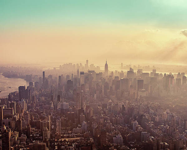 Horizontal Poster featuring the photograph Midtown Manhattan At Dusk by Matthias Haker Photography