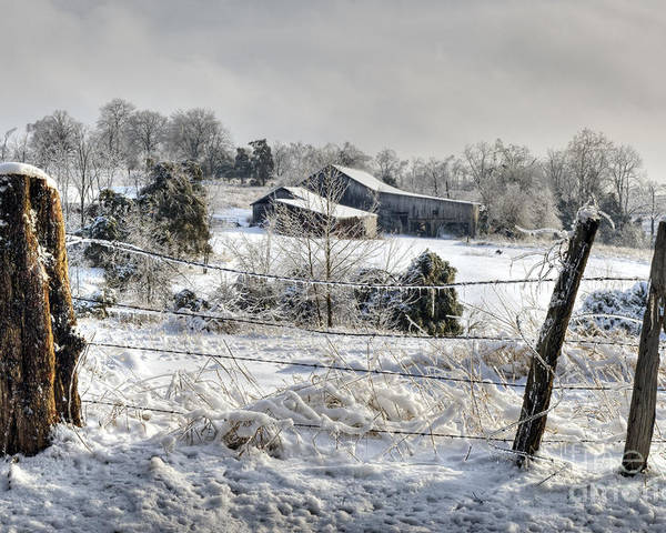 Fence Poster featuring the photograph Midwestern Ice Storm - D004825 by Daniel Dempster