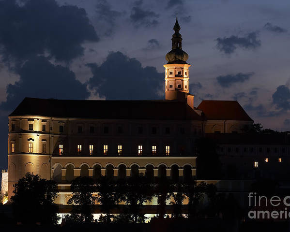 Mikulov Poster featuring the photograph Mikulov Castle At Night by Michal Boubin