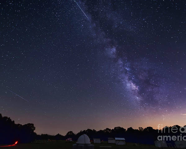 Astronomy Poster featuring the photograph Milky Way And Perseid Meteor Shower by John Davis