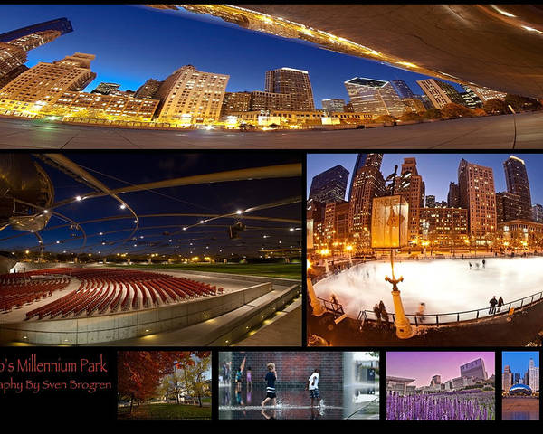 Poster featuring the photograph Millennium Park Photo Collage by Sven Brogren
