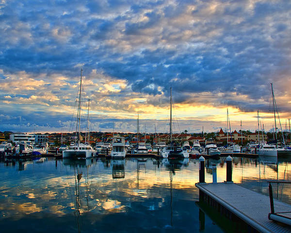 Marina Poster featuring the photograph Mindarie Sunrise by Imagevixen Photography