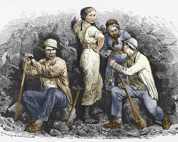 Human Poster featuring the photograph Miners And Their Wives, 19th Century by Sheila Terry