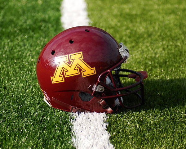 University Of Minnesota Poster featuring the photograph Minnesota Football Helmet by Bill Krogmeier
