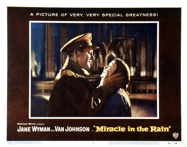 1956 Movies Poster featuring the photograph Miracle In The Rain, Van Johnson, Jane by Everett