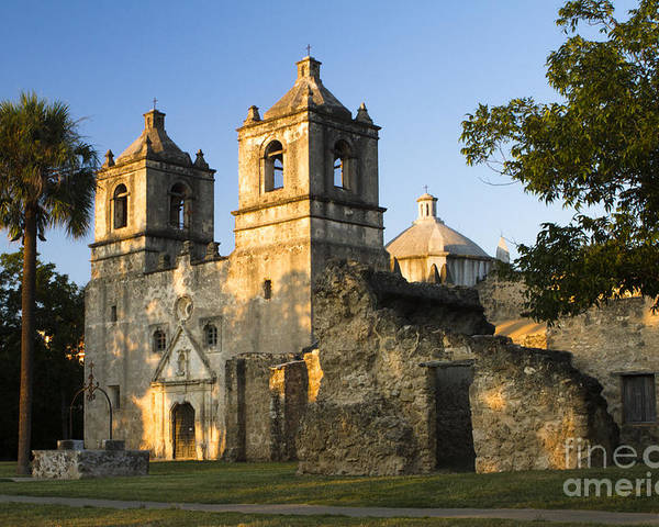 Mission Concepcion Poster featuring the photograph Mission Concepcion In The Evening by Ellie Teramoto