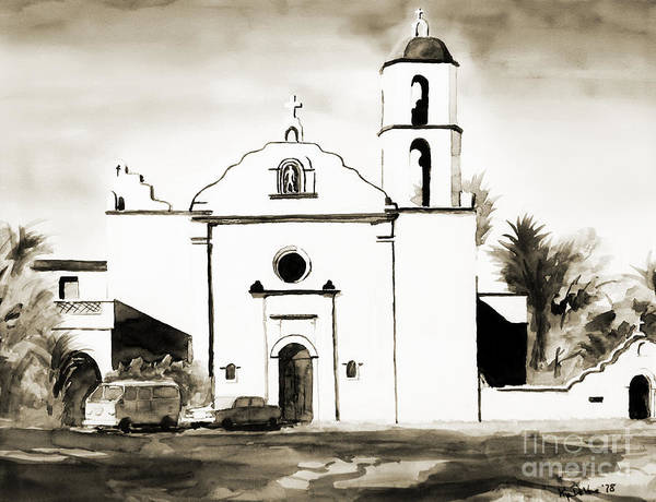 Mission Poster featuring the painting Mission San Luis Rey Bw by Kip DeVore