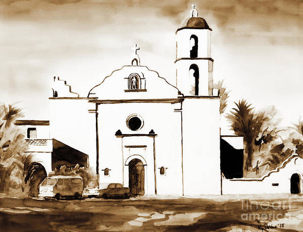 Mission Poster featuring the painting Mission San Luis Rey In Sepia by Kip DeVore