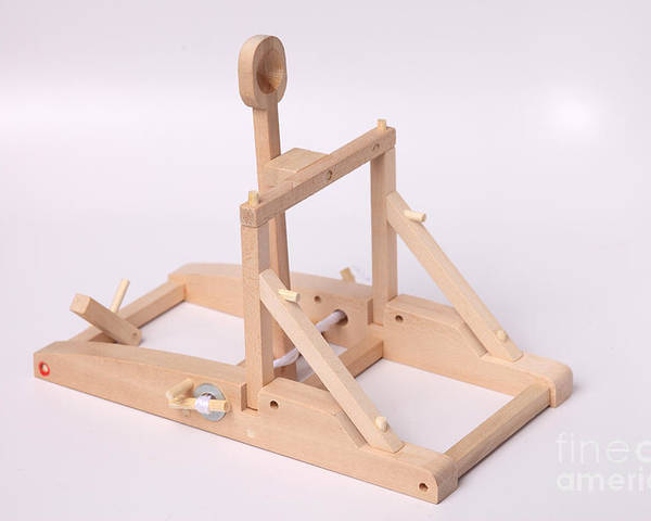 Catapult Poster featuring the photograph Model Catapult by Ted Kinsman