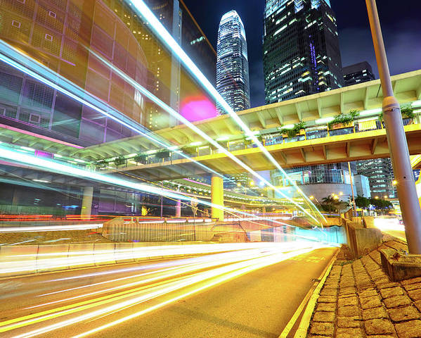 Horizontal Poster featuring the photograph Modern City At Night by Leung Cho Pan