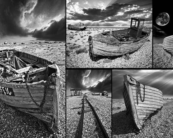 Boat Poster featuring the photograph Montage Of Wrecked Boats by Meirion Matthias