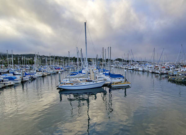 Blue Poster featuring the photograph Monterey Harbor Marina - California by Brendan Reals