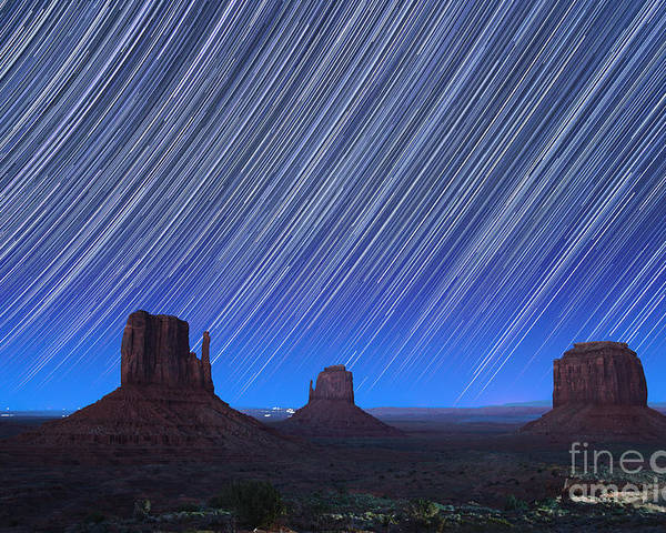 Abstract Poster featuring the photograph Monument Valley Star Trails 1 by Jane Rix
